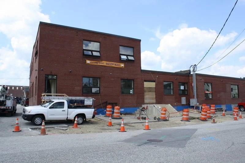 Bayside Bowl is under construction at the former home of Skillful Vending in Portland's Bayside neighborhood. Exposed brick and a sophisticated menu will give it a grown-up feel.