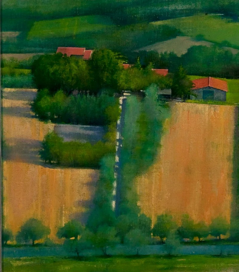 """Farm House, Umbria,"" 2008, oil on muslin, 9 by 8 inches"