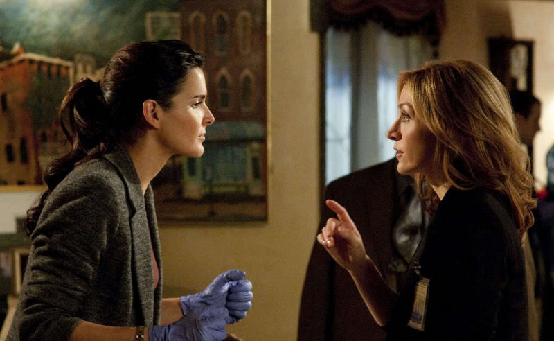 "Angie Harmon, left, and Sasha Alexander star in the new TNT series ""Rizzoli & Isles,"" which premieres Monday."