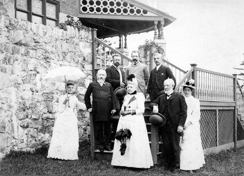 President Benjamin Harrison, second from left, front row, during a visit to Bar Harbor in 1889. With him are, from left, front row: Mrs. Henry Cabot Lodge, Mrs. James G. Blaine, James G. Blaine and Margaret Blaine Damrosche. From left in the back: Henry Cabot Lodge, Walker Blaine and the president's personal secretary.