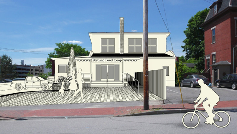 An artist's sketch shows what the Portland Food Cooperative could look like after renovation. The coop has received a donation of a five-year lease for a building in Portland's East End.