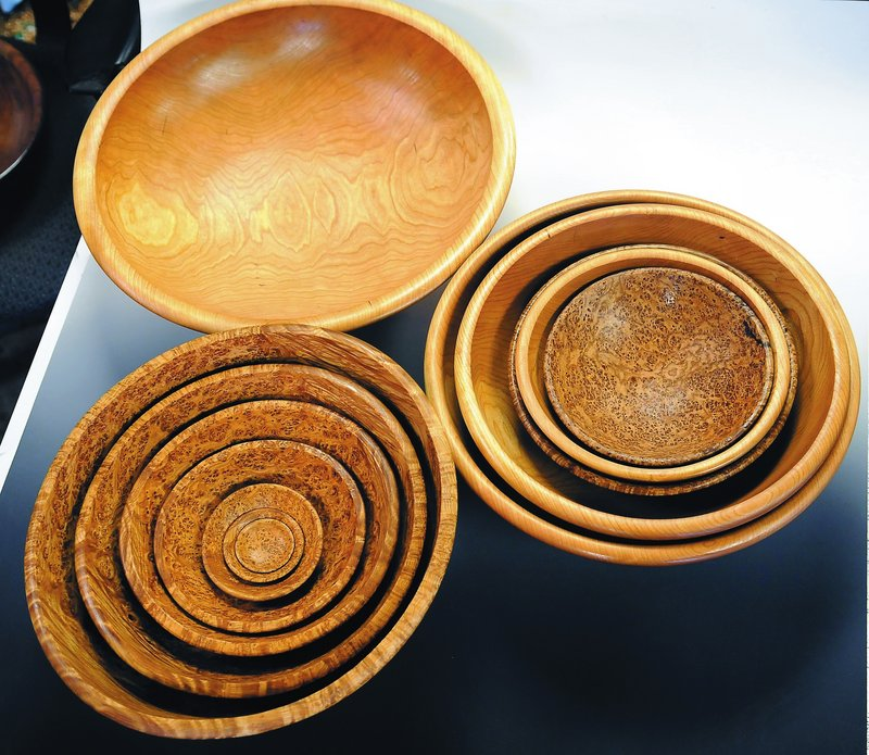 """Some bowls that woodworker David Lancaster has turned at his South China workshop. On Wednesday, Lancaster will tape a segment of """"The Martha Stewart Show,"""" to air Friday."""