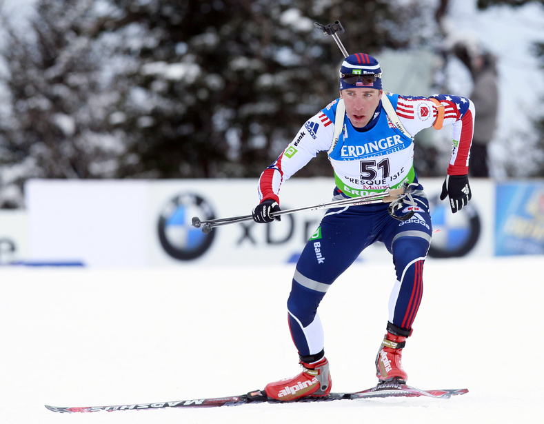 Jeremy Teela of Heber City, Utah, competes in the men's 10K sprint at the biathlon World Cup in Presque Isle on Feb. 4.