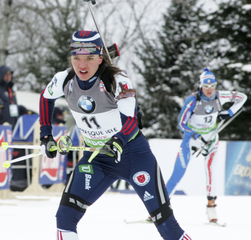 Sara Studebaker of Boise, Idaho, was the top American finisher in the women s 7.5-kilometer sprint Friday at a World Cup biathlon event in Presque Isle. Studebaker was 14th overall, her highest career finish, hitting every target. Helena Ekholm of Sweden won the race.