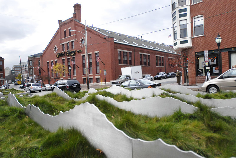 """Artist Shauna Gillies-Smith says her """"Tracing the Fore"""" landscape sculpture on Fore Street in Portland, shown in 2007, suffered from a lack of maintenance."""
