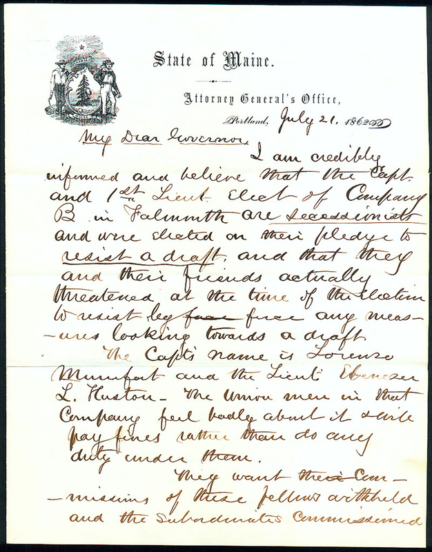 A letter by Attorney General Josiah Drummond warned Gov. Israel Washburn in 1862 against appointing Chamberlain lieutenant colonel.
