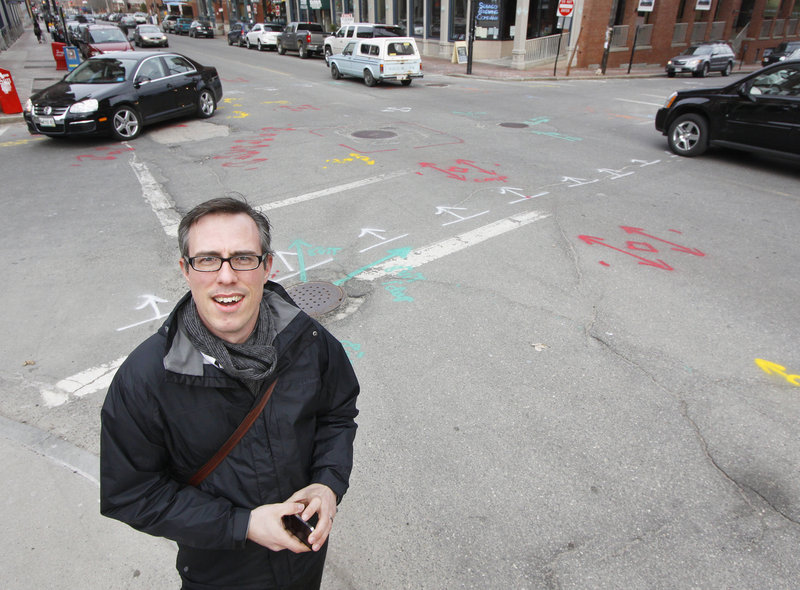 """Keith Gosselin of Portland is concerned that the markings on streets, curbs and sidewalks will be unsightly for visitors to the Old Port, a major tourist destination. """"I recognize that we have to be repairing things, and projects are projects, but this is really madness,"""" he said."""