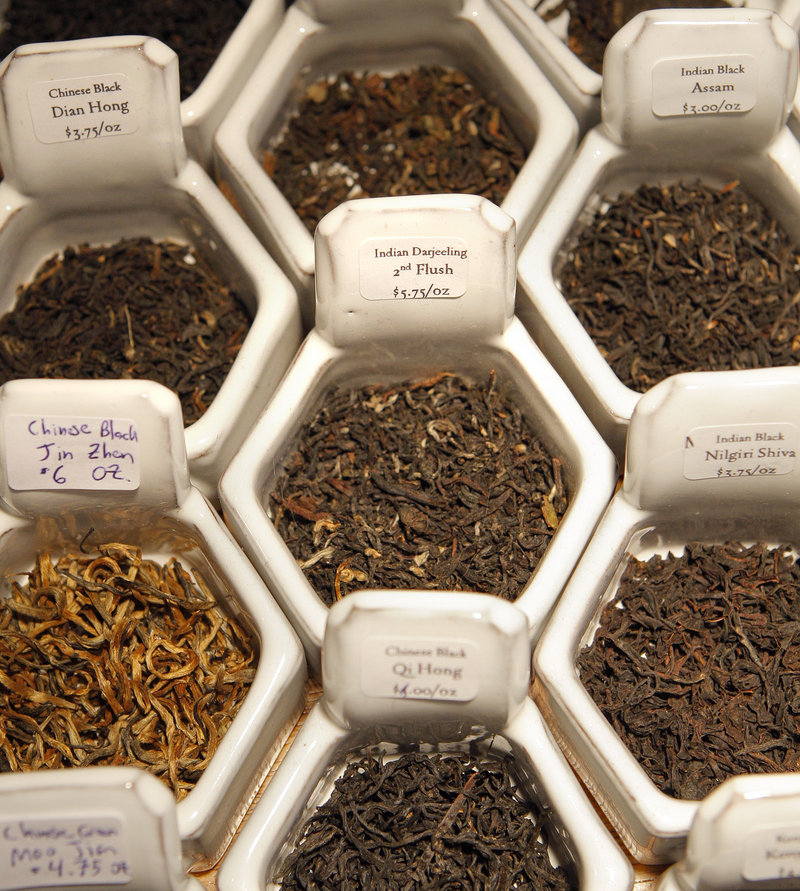 Shoppers interested in buying bulk teas at Dobra Tea can view the varieties in this honeycomb display.