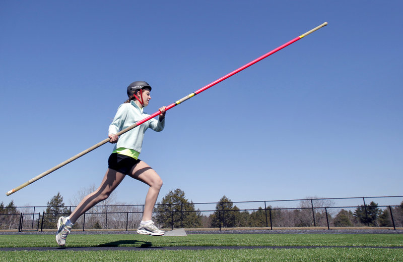 Nevada Horne of Falmouth saw pole vaulting and decided it looked like a cool sport. It is, and other high school girls have been giving it a try.