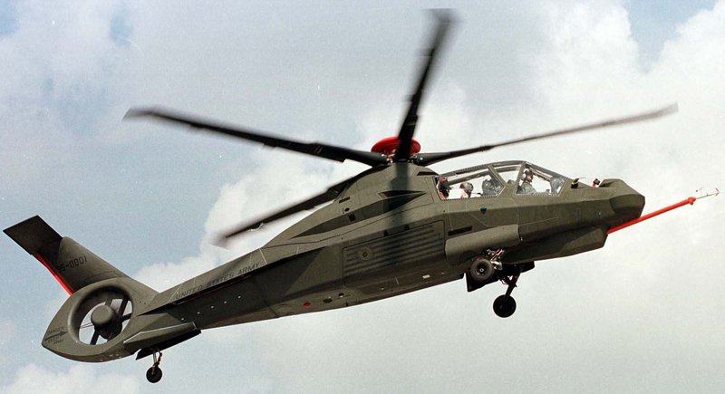 A study condemning the Army's expenditure of more than $32 billion for equipment never built singles out the Comanche helicopter, shown in this 2001 illustration of the prototype. The study is the latest sign the military is radically changing its approach, favoring the tried-and-true over ambitious technological innovation.