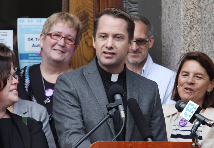 Rev. Michael Gray, a United Methodist pastor in Old Orchard Beach, speaks today at a news conference in Lewiston, where it was announced that gay marriage supporters are laying the groundwork for another referendum on the issue same-sex unions in the state.