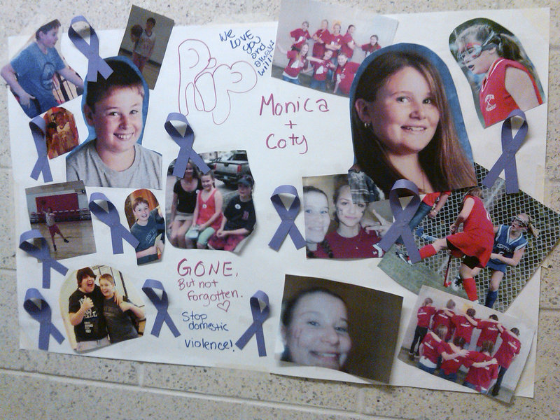 "A poster hanging in the hallway of the Ridge View Community School in Dexter displays a montage of photos honoring slain students Monica and Coty Lake. ""Everybody knew them. They were normal, happy, popular kids,"" said SAD 46 Superintendent Kevin Jordan."