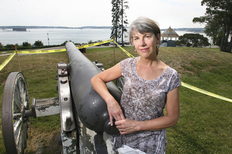 Diane Davison, president of the Friends of the Eastern Promenade, says the cannon carriages are a top restoration priority. The cannons are marked off with yellow tape to keep people from climbing on them and further damaging the carriages.