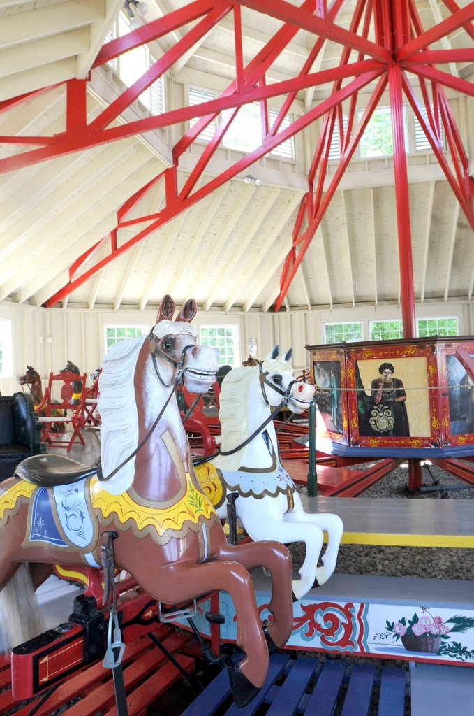 The 1894 Armitage Herschell Carousel at 19th Century Willowbrook Village has been fully restored. The tails on the horses are made of real horsehair.