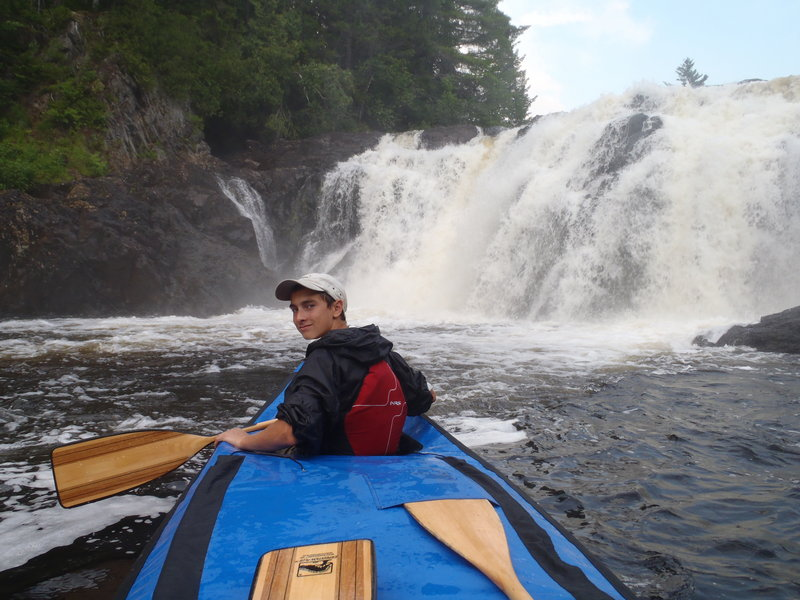 """Jeremy Collett smiles as he and his father approach Grand Falls. """"We paddled right under the falls,"""" Russ Collett said. """"It was spectacular."""""""