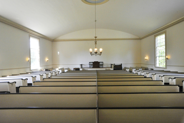 Interior view of Yarmouth's Old Baptist Meeting House, built in 1796.