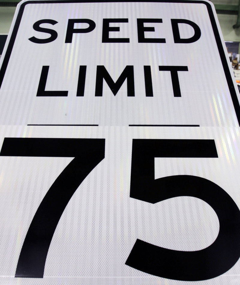 A new speed limit sign at the Maine Department of Transportation in Augusta is ready for posting next week on a section of Interstate 95 north of Bangor. Maine is about to become the only state east of the Mississippi River where drivers aren't breaking the law by going 75.