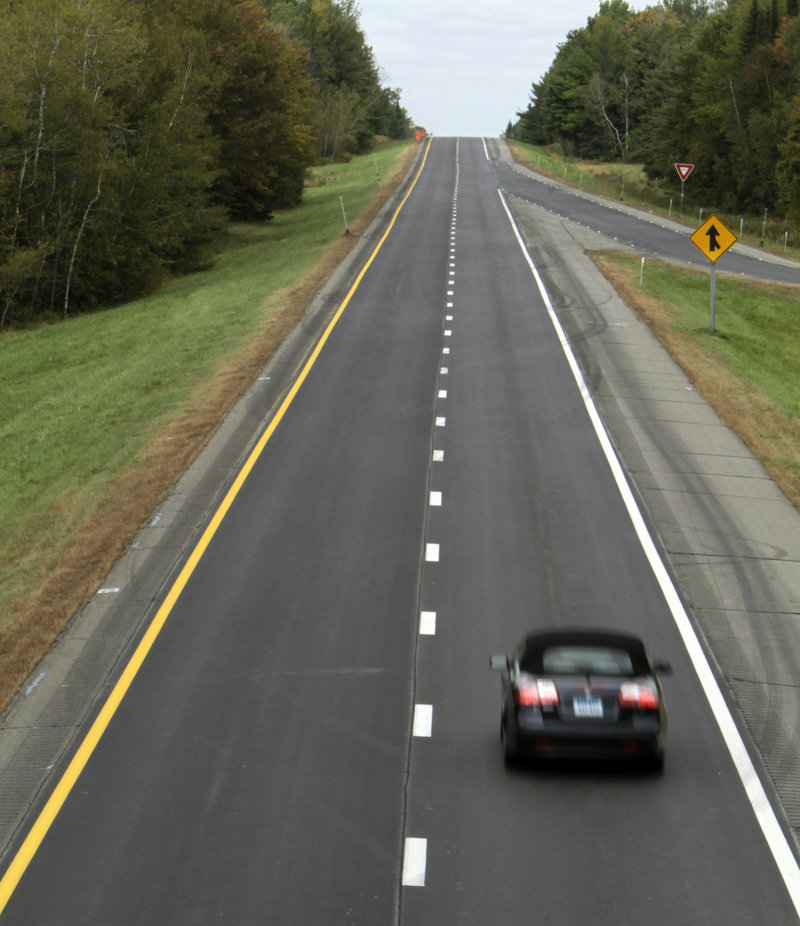 A car cruises Wednesday on I-95 northbound in Old Town. The new 75 mph zone covers 110 miles of road from Old Town, which is a few miles north of Bangor, to Houlton.