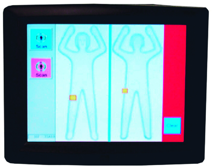 The machines generate a generic image of passengers' bodies on a digital display and flag potential threats, which show up as yellow boxes.