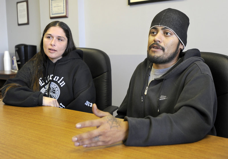Angela Soto and her fiance, Richard Patino, moved to Portland from Damariscotta when they both lost jobs and ended up in the city's family shelter. They say they spend their days looking for work and hunting for an apartment that will accept General Assistance vouchers.