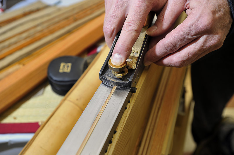 Each of the six triangular bamboo parts that are used to make the bamboo rod is planned to exacting proportions.