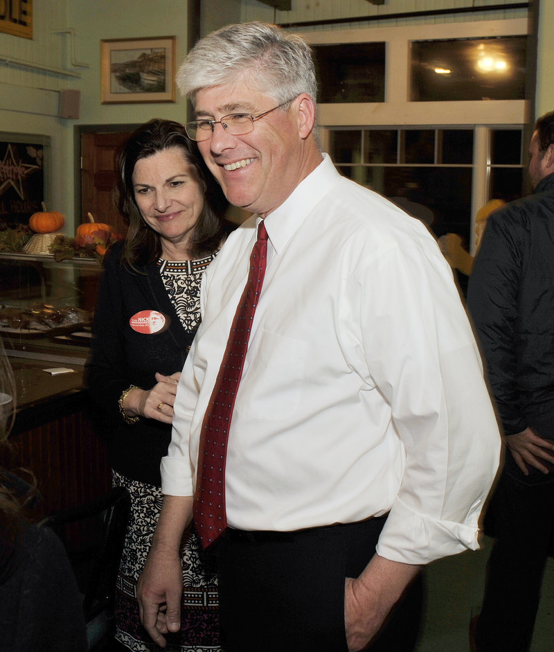Nicholas Mavodones, Portland's current mayor, and his wife, Kelly, Hasson, attend his election night party at the Porthole Restaurant. Mavodones had the third-most first-place votes for mayor after Round 1.