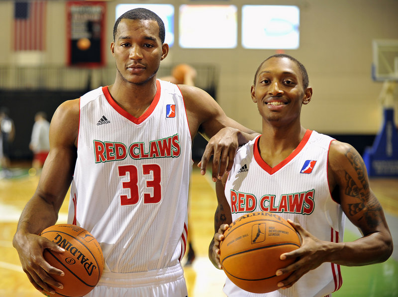 Chris Wright, left, and Kenny Hayes of the Red Claws are cousins, roommates and teammates and also childhood friends. They grew up in Ohio, played basketball together and also tinkered with a few wrestling moves in the basement.