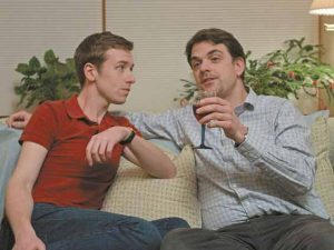 "JOE BEAROR as Luke and Rob Cameron, portraying Adam, appear in Good Theater's production of ""Next Fall,"" by Geoffrey Nauffts, directed by Brian P. Allen. The play opens Wednesday at the St. Lawrence Performing Arts Center in Portland."