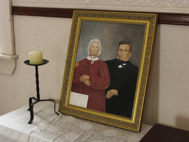 """A painting by Roger Sprague depicts Wingate and Mary Haines, Quakers from Hallowell who were the founders of Friends Church in Maple Grove and """"conductors"""" along the Underground Railroad."""