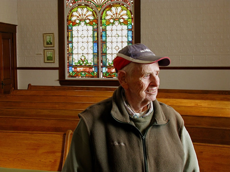 Bill Findlen, 83, is a member of the Frontier Heritage Historical Society, which owns the Friends Church in Maple Grove and is working to preserve the building and document its history.