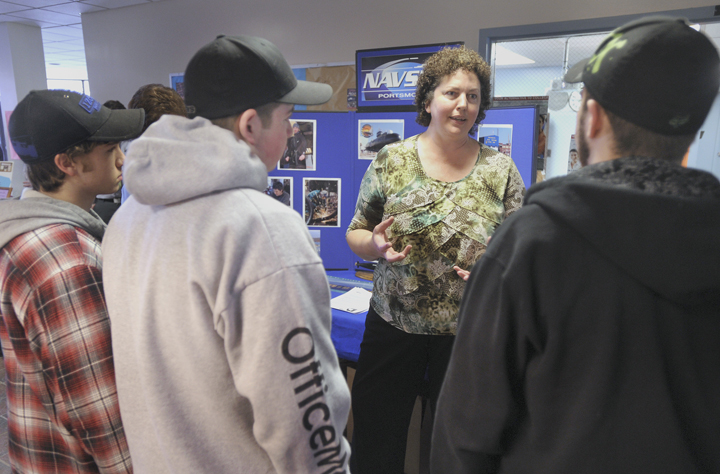 Mary Nevells, administrator of the apprentice program at the Portland Naval Shipyard in Kittery, talks about employment opportunities at the shipyard.