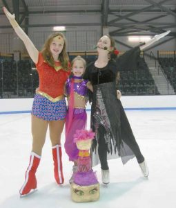 THE SKATING CLUB OF BRUNSWICK is scheduled to host a show Sunday, with the spotlight on old television shows like the Beverly Hillbillies, I Dream of Jeannie, Wonder Woman and The Adams Family. Here, Charlotte Majercik as Wonder Woman, Sophie Calderwood as Jeannie and Sharon Henderson as an Adams Family member. The show will be held at Sidney J. Watson Arena on the Bowdoin College campus at 5 p.m. Tickets are $10, or $8 if purchased at Hannaford's. Also, on the ice will be Otto the Moose from Bill Dodge, Downeast Puffin, Sneakers from Bath Savings and the Bowdoin Polar Bear.