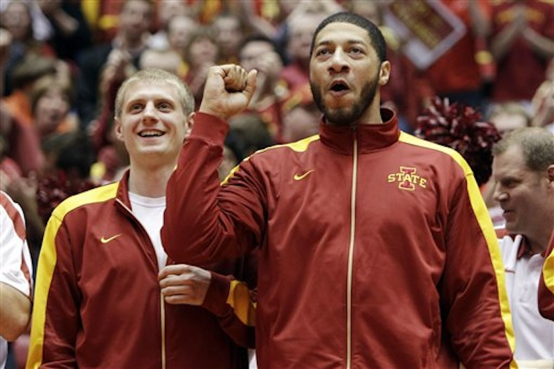 Iowa State's Royce White, right, and Scott Christopherson, left, react after the announcement that they will play Connecticut in the NCAA college basketball tournament during a selection show party on Sunday, March 11, 2012, in Ames, Iowa. (AP Photo/Charlie Neibergall) NCAA