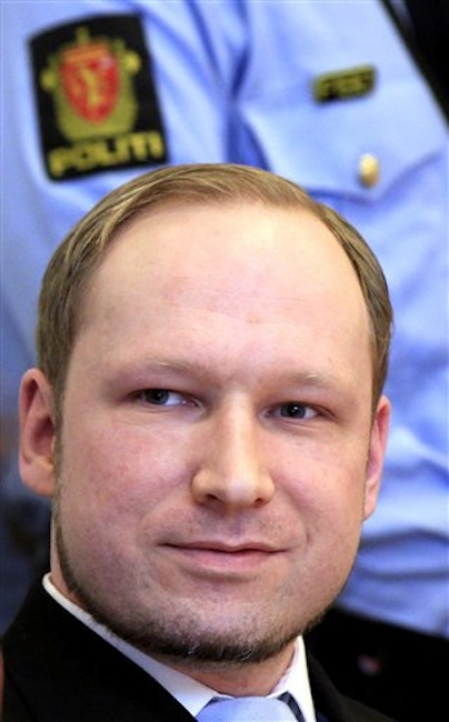 Anders Behring Breivik, a right-wing extremist who confessed to a bombing and mass shooting that killed 77 people on July 22, 2011, arrives for a detention hearing at a court in Oslo, Norway, Monday, Feb. 6, 2012. (AP Photo/Lise Aserud, Scanpix Norway) BNC