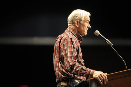Republican presidential candidate, Rep. Ron Paul, R-Texas speaks at a rally in Spokane, Wash. on Friday, March 2, 2012. (AP Photo/Jed Conklin)