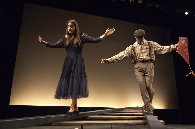 """Sarah Lord and Justin Adams walk the railroad tracks in a scene from """"This Property is Condemned,"""" one of the one-act plays featured in Portland Stage Company's new production, """"Hidden Tennessee,"""" by Tennessee Williams."""