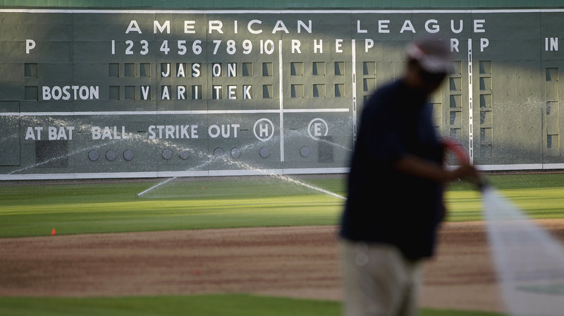 Jason Varitek, who will officially retire today, was honored by having his name displayed on the JetBlue Park scoreboard Wednesday at Fort Myers, Fla.