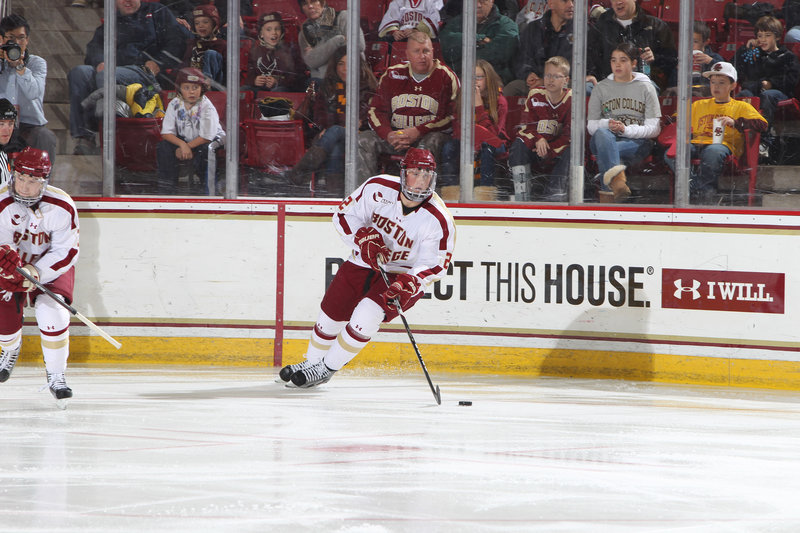 Brian Dumoulin, who has won the Hockey East title in all of his three years at Boston College, hopes to lead the Eagles to the national championship, with the road starting this weekend in a regional that also includes UMaine.