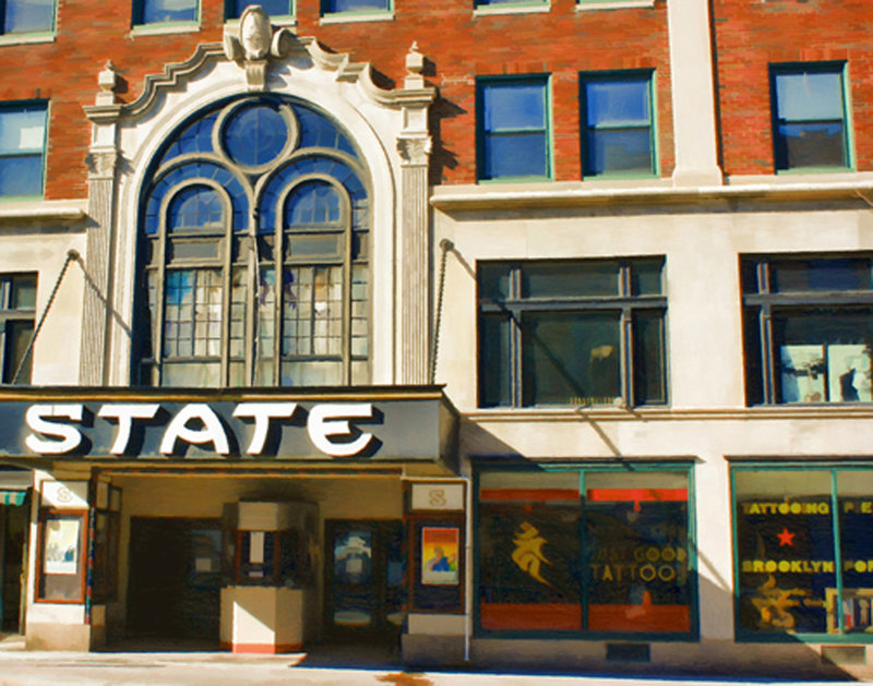 """""""State Theater and Just Good Tattoos,"""" by Clyde McCulley."""