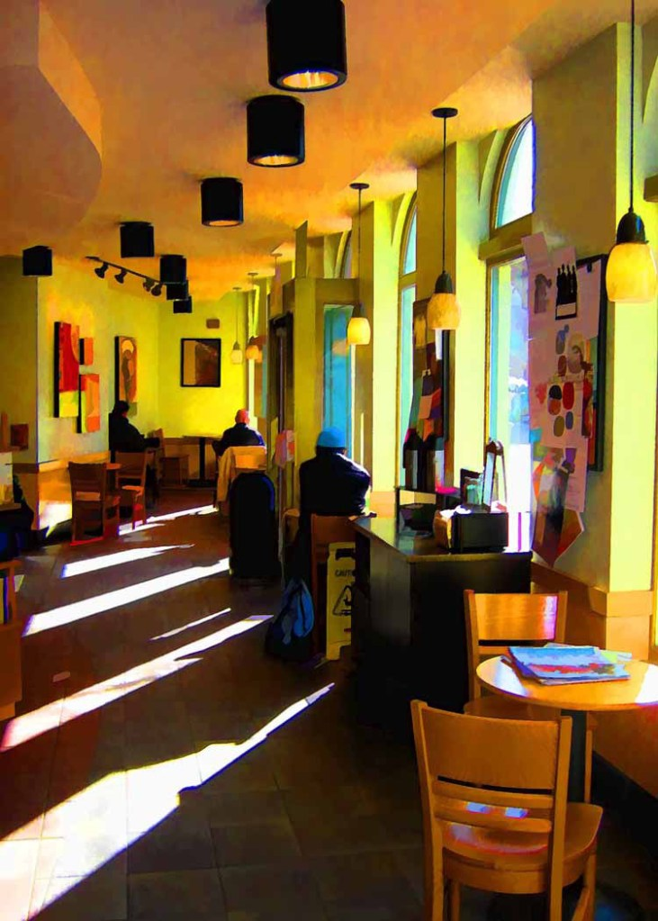 """""""Late Afternoon at Starbuck's,"""" by Clyde McCulley."""