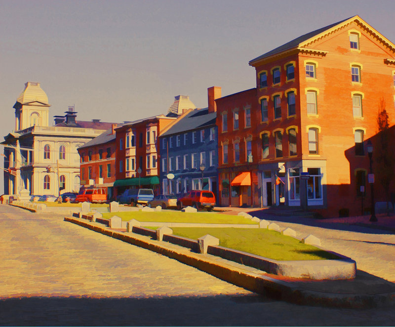 """""""Boothby's Square at Fore and Silver Street,"""" by Clyde McCulley."""