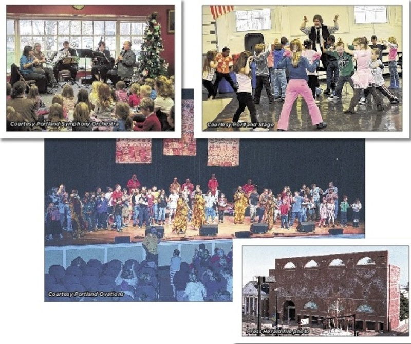"""Here are photos from four cultural organizations that would benefit from """"Culture Club – Portland"""": At top left, a 2012 KinderKonzert performance of """"Peter and the Wolf"""" by the Portland Symphony Orchestra; top right, Andrew Harris, theater arts educator, leads an in-school workshop as part of Portland Stage's Community Outreach with schools; center, students join members of the Creole Choir of Cuba onstage at Merrill Auditorium during a Portland Ovations School-Time Performance; and, at right, the Portland Museum of Art."""