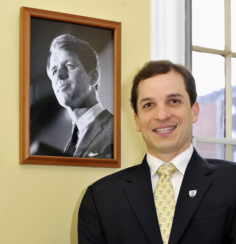 Benjamin Pollard has a photo of the late Sen. Robert Kennedy, for whom he holds great respect, in his office.