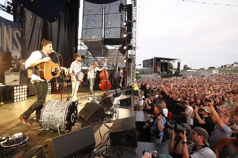 The members of Mumford & Sons perform during the Gentlemen of the Road tour at the Eastern Prom in Portland. The band was the last of eight to play at the daylong event.