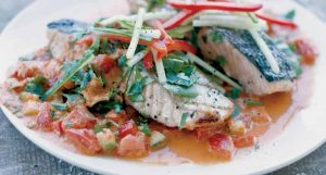 GAZPACHO SALMON topped off with a robust, chunky, vegetable-packed vinaigrette.