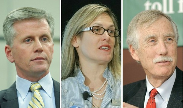 Maine candidates for U.S. Senate: Republican Charlie Summers, left, Democrat Cynthia Dill and independent Angus King.