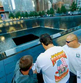 AT THE 11TH ANNIVERSARY of the attack on the World Trade Center, thousands of people converged on the Tribute Center and fountains.
