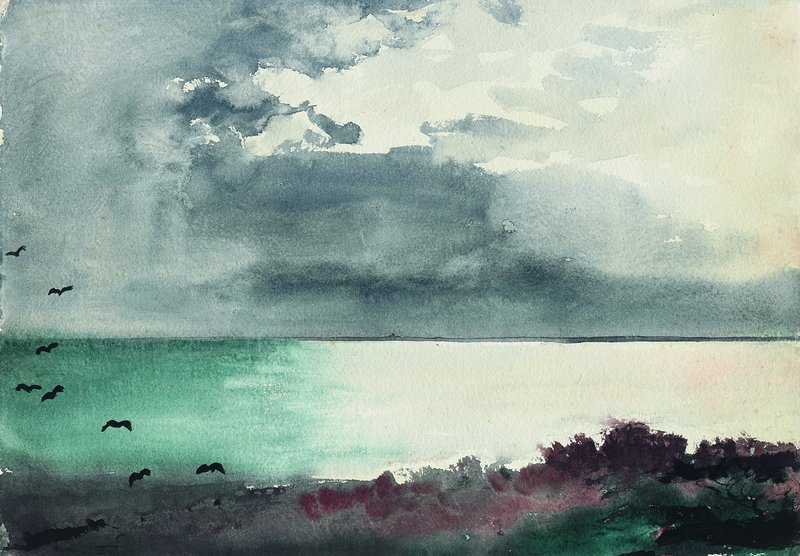 """Breaking Storm, Coast of Maine,"" watercolor on wove paper, 1894."