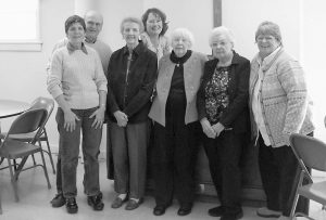 PICTURED are founders and current members of the Couples and Singles Club, which presents the monthly bean supper at First Parish Congregational Church. From left are Colby and Rosalie Perkins, Lois Dennison, Patty Kennedy (behind), Jean Soule, Barbara Thompson and Brenda Skillin.