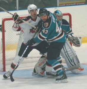 THE PORTLAND PIRATES took on the Worcester Sharks in American Hockey League action at the Androscoggin Bank Colisee on Wednesday, falling 4--2. In the top photo, Portland's Michael Stone (28) fights with Worcester's Yanni Gourde, while in photo above, Pirates forward Joel Rechlicz, left, battles for position against Worcester's Jimmy Bonneau (43) while Sharks goaltender Alex Stalock looks on. A crowd of 3,264 took in the action in the third of six Pirate games in Lewiston.